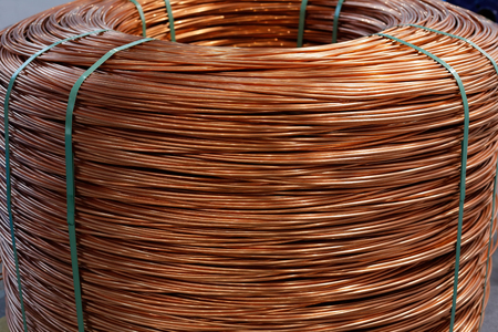 Coil of 8 mm electrolytic tough pitch copper wire rod. 版權商用圖片