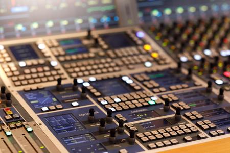 Control surface of modern audio production console. Standard-Bild - 108864050