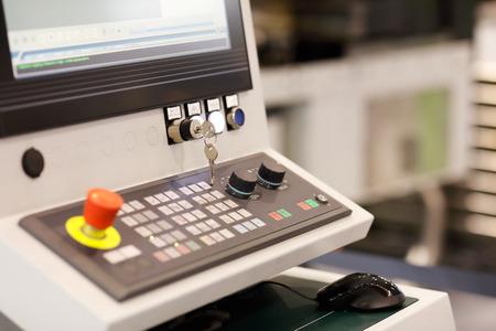 Control panel of multi axis CNC machining center. Selective focus. Standard-Bild - 118983050