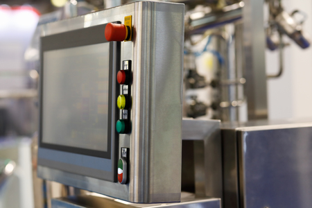 Modern industrial control panel with a touch screen. Standard-Bild - 118983344