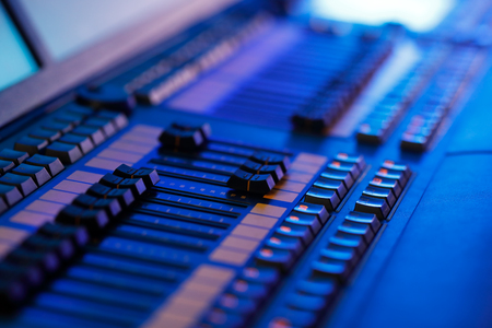 Close up of the professional stage lighting controller. Selective focus. Standard-Bild - 118983738
