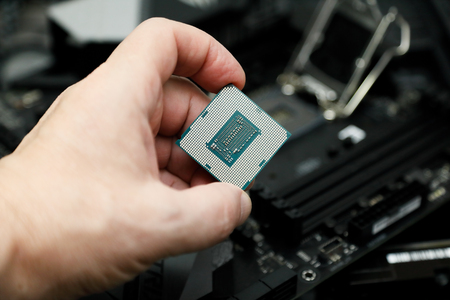 CPU before installation into the CPU socket on the motherboard. Standard-Bild - 118984023