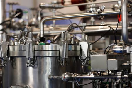 Industrial chemical stainless steel equipment. Selective focus. Standard-Bild - 118984527