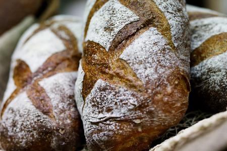 Closeup view of artisan bread loaves. Selective focus.