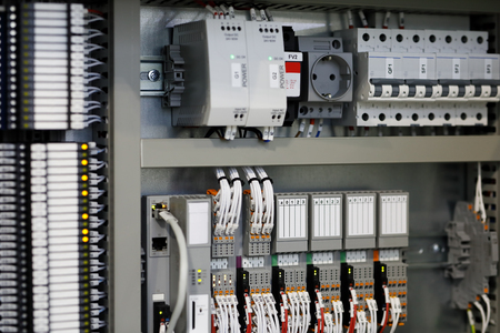 Programmable logic controllers PLC based control system. Selective focus.