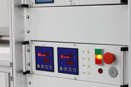 Industrial rack mount equipment close up. Selective focus.