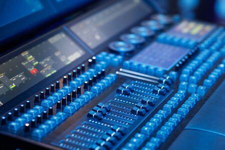 Closeup of professional lighting mixer panel. Selective focus. Reklamní fotografie