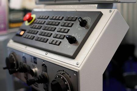 Control panel of metalworking CNC machining center. Selective focus. Reklamní fotografie