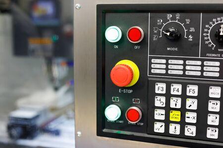 CNC control panel of milling machine. Selective focus. Reklamní fotografie