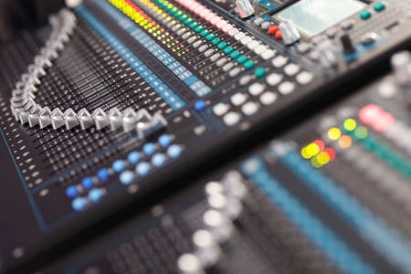 Professional digital sound mixing console close up. Selective focus. Stock Photo