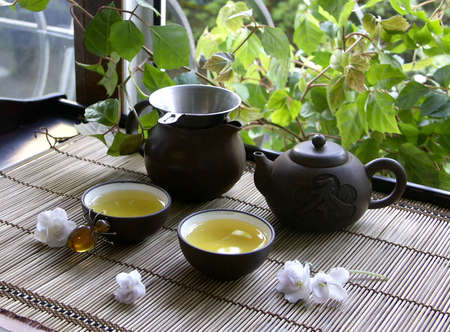 image about tea ceremony in the spring morning  photo