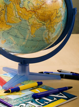 Still-life about school accessories for a lesson of geography Stock Photo - 1914178