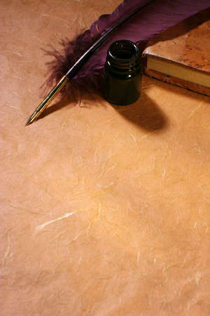 caligraphy: Still-life with  a quill and an inkwell