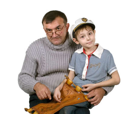 histories: The father tells to the son about the far countries and travel Stock Photo