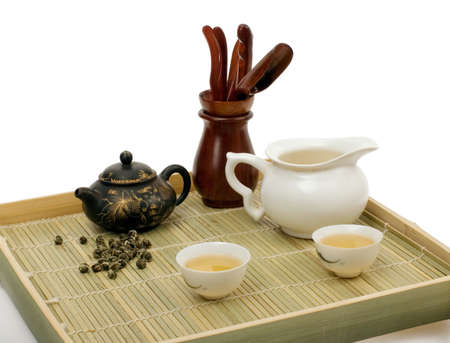 still-life about chinese tea ceremony. Isolated  photo
