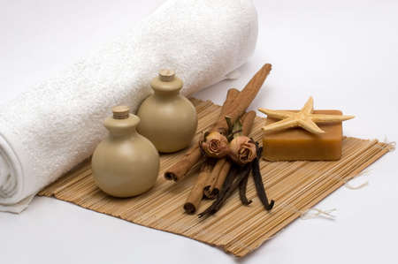 Still-life with objects of an aromatherapy and spa Stock Photo - 2301208