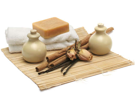 Still-life about objects for aromatherapy, massage & spa Stock Photo - 2301207