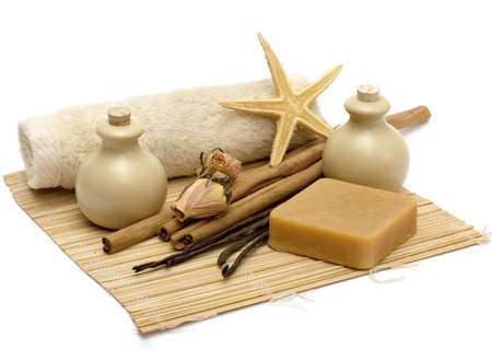 Still-life with objects for massage and aromatherapy Stock Photo - 2301210