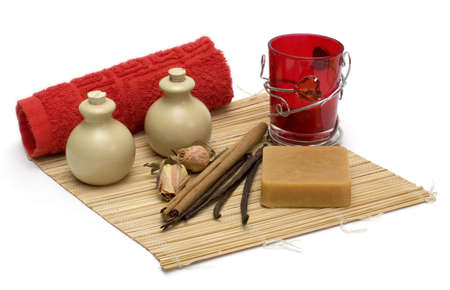 Still-life with objects for massage, spa and aromatherapy Stock Photo - 2301211