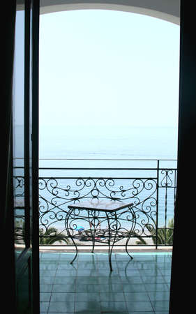 View to the sea  from a balcony of  hotel. Italy photo