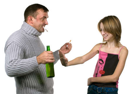 debauch: Drunk man with bottle of beer invite girl to drink. Social problem. Isolated on white.