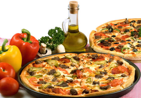 Image about pizza and italian kitchen. Studio. Isolated on white background. photo