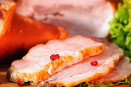 Smoked pork. Close-up photo