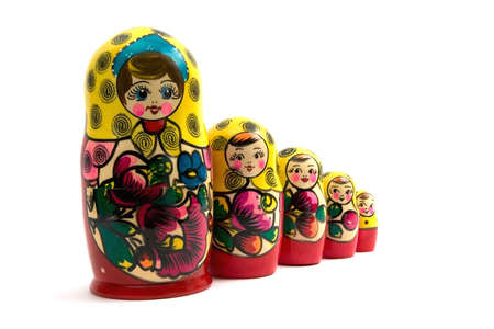nested: Russian nested dolls on a white background