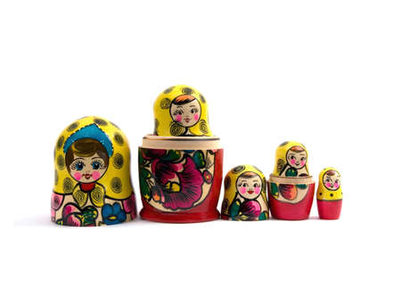 nested: Russian nested dolls isolated on white  background.