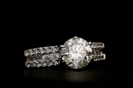 diamonds isolated: Ring with diamonds isolated on black background