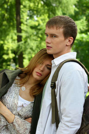 quivering: Young loving couple  in the nature