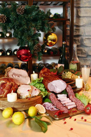 Christmas And New Year party table on wine rack background photo