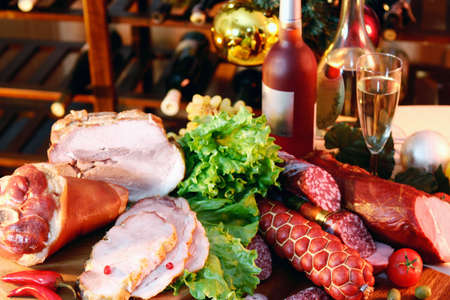Christmas And New Year party table on wine rack background. photo