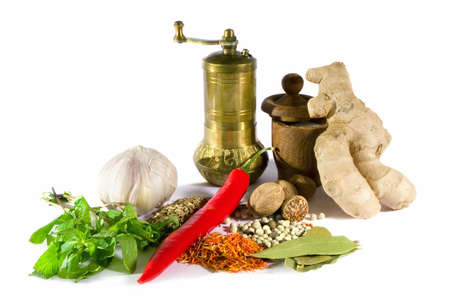 Assorted spices, herbs, root and metal pepper mill  isolated on white background. photo