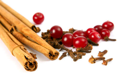 Cinnamon, carnation and cranberry on white backgroundSpices and berries for curative tea.