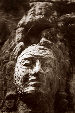 cambodia sculpture: Ancient bas relief in Angkor Vat. Cambodia