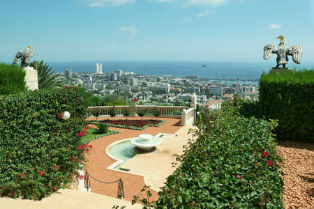 bahaullah: Garden Bahai and view to sea and city Haifa. Israel.