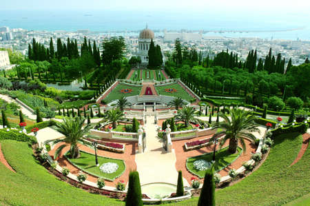 bahai: A beautiful view of the Bahai Gardens in Haifa Israel. Stock Photo