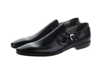 Black summer shoes isolated on white background.