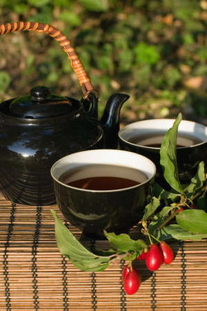A herbal tea drinking on a green background of a garden photo