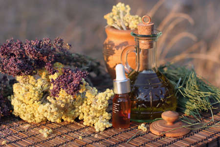 tincture: Aromatherapy concept. Bottles of essence oil and tincture with dried herb.