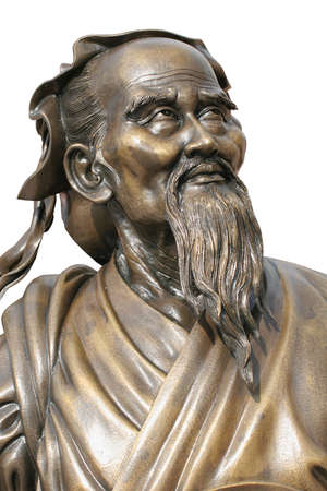 Bronze chinese statue  of Confucius isolated on white background.