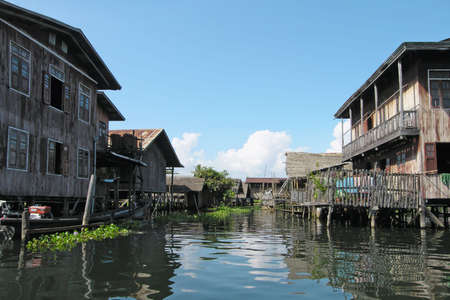 Houses on stilts. Village on a water. Scenes and attractions around Bangkok, Thailand