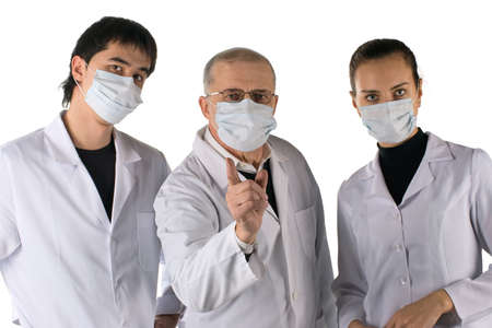 pandemic: A medical team warns about a flu pandemic. On white background