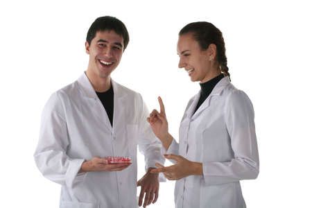 labratory: medical students discuss results of laboratory research