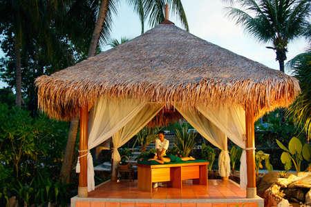 Masajes en el spa tropical. Una mujer joven con un masaje de espalda fuera en configuración tropical.