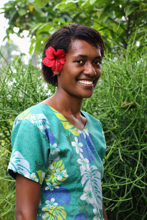 Portrait pacific islander girl with a sincere smile. Stock Photo