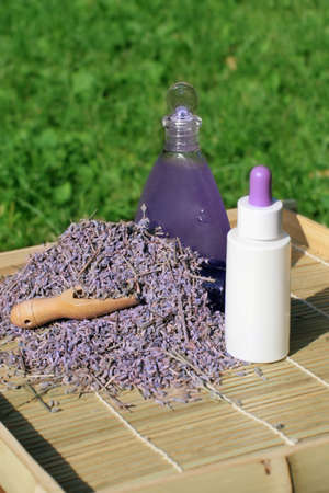 Cosmetic preparations from a lavender - essential oil and gel Stock Photo - 7408227