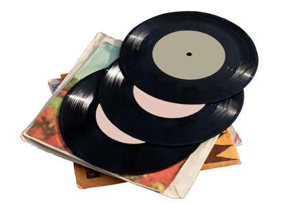 oldies: old vinyl records on white background.