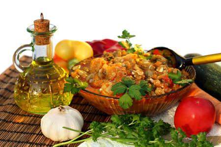 dietetic: Appetizing dietetic vegetable ragout of aubergine with  tomato, pepper,garlic